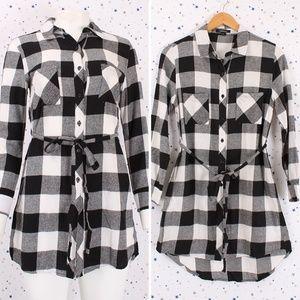 Tops - Plaid Button Up Tunic Shirt Dress Black/Ivory